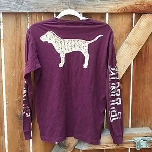 VS PINK sequin burgundy long sleeve shirt xs